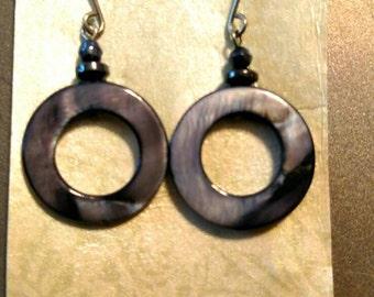 Perfect circle abalone earrings