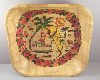 Vintage Florida State Map Bamboo Souvenier Square Serving Bowl Features Golf, Flamingoes, Cape Canaveral, Horse Racing, Misc. Florida Themes