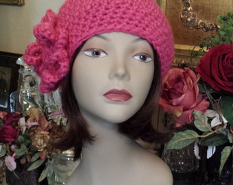 Winter hat with flower made and designed by petronella