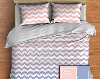 Custom Ombre Chevron Bedding in Comforter or Duvet style features Pantone 2016 Rose Quartz and Serenity