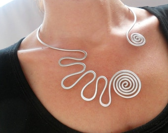 Open collar necklace Silver wire necklace Spiral necklace Spiral jewelry Statement jewelry Wire jewelry Unusual necklace Funky jewelry