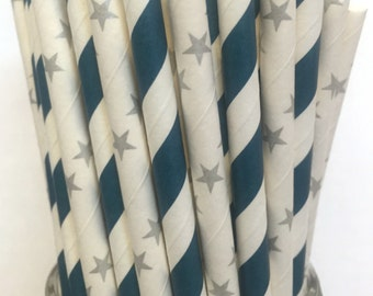 2.85 US Shipping -Blue and Silver Paper Straws- Blue  Silver Straws -  Blue Silver Cake Pop Sticks - Drinking Straws