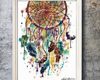 DECADENCE | Dreamcatcher Watercolor Painting Print - Illustration print - Boho Print - LindsayBoehmlerART