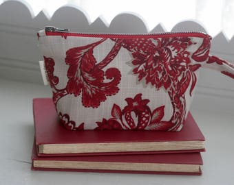 Red and Off White Floral Linen/Cotton Blend Cosmetic Pouch Toiletry Bag Zippered Mother's Day Bridal Shower Gift