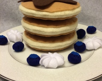 Felt Blueberry Pancake Set, Play Food, Felt Food, Pretend Play