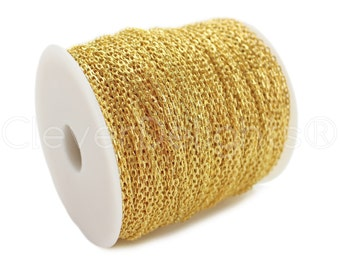 330 Ft - 2x3mm Gold Cable Chain Spool - For Necklaces, Jewelry, Pendants - 2mm x 3mm Oval Links - 100M Bulk Rolo Chain Roll