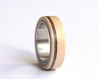 Mens Wedding Band, Wood Mens Ring, Mapple Wood Wedding Ring, Titanium Wedding Ring,