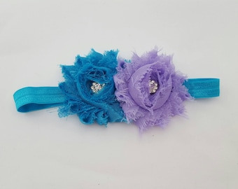 Headband flower purple and Turquoise 3/6 months