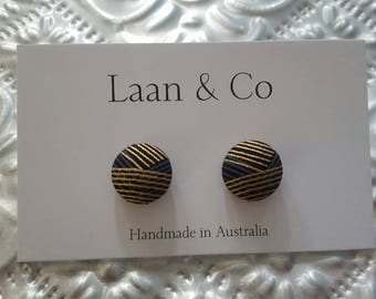 15mm Gold and Charcol Button Stud Earrings