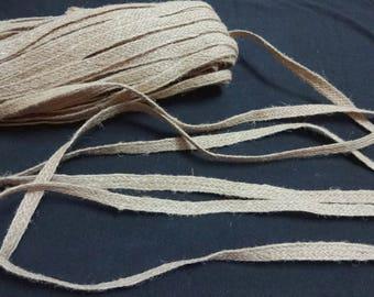 7 mm Braided Jute,Jute Lace Ribbon,Burlap Trim,Burlap Tape,Indian Jute,Natural Jute Flat Tape - 25 meters