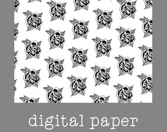 Black and White Rose Digital Paper / Vellum