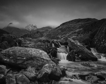 Landscape Fine Art Photo: Snowdonia Wales, mountains, clouds, river, waterfall
