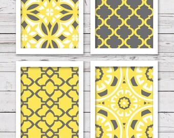 Printable Art, Printable Wall Art, Printable Art Set, Yellow and Gray Art, Gray and Yellow Wall Art, Bedroom Art, INSTANT DOWNLOAD