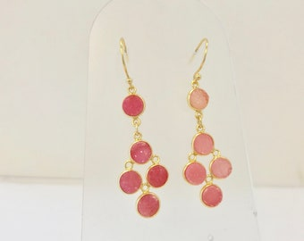 Coral Spinel Druzy Dangle