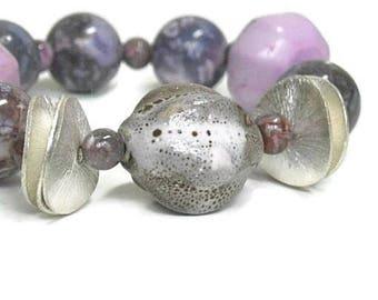 Sale| Chunky Purple Gemstone Bracelet - Genuine Dyed Turquoise - Stretch - Sugilite - Boho - December Birthstone - Lilac - Mocha - Mixed Med