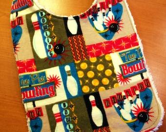 Baby Bib - Retro Bowling Design - Flannel and Chenille