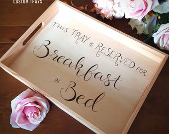 Personalised tray, serving tray, wooden breakfast tray, wooden serving tray, Mother's Day gift, breakfast in bed, Valentine's Day gift,