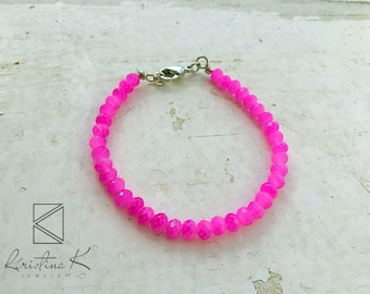 Pink Crystal Beaded Bracelet | Summer Bracelet | Summer Jewelry | Bright Bracelet | Gemstone Bracelet | Everyday bracelet | Summer Bracelet