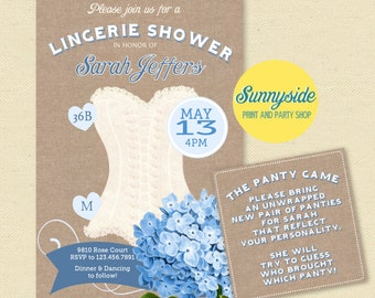 Something Blue Lingerie Shower Invitation, burlap and floral corset invite with Panty Game, Printable or Printed bridal shower invitations