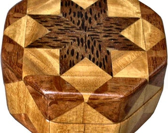 Black Palm, Satinwood and Lacewood Ring Box