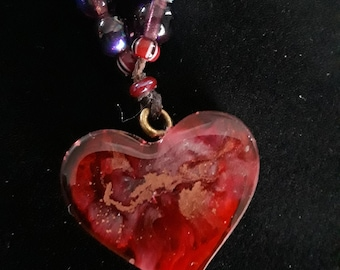 SweetHeart Red and Gold Resin Heart Pendant on beaded cord- Valentines Love Celebration