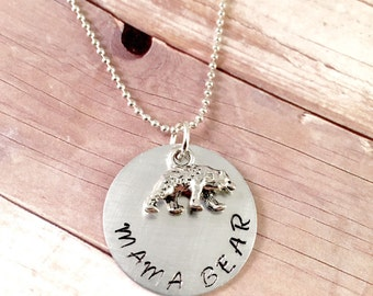 Mama Bear necklace, Mama Bear hand stamped charm, personalized mama necklace, Bear necklace, Mama jewelry, New mom gift, best friend gift