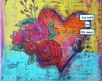 Mixed Media (collage) Heart Art,valentine gift for her/him/husband /wife and small 8x8 wall decor.