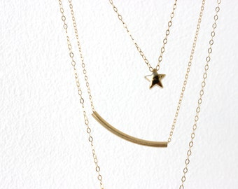Gold star necklace Golden star Lucky Star Necklace Five pointed star pendant Puffy star necklace Layering Necklace Tiny star Necklace