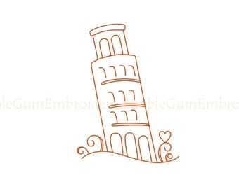 I love Italy Redwork Embroidery Designs Instant Download