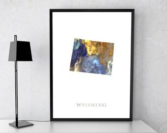 Wyoming poster, Wyoming art, Wyoming map, Wyoming print, Gift print, Poster