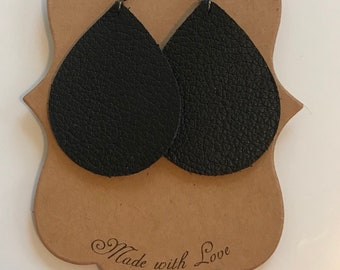 Black, patterned leather earrings