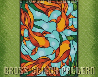 Stained Glass Fish Pond Cross Stitch Pattern Instant Download pdf Design