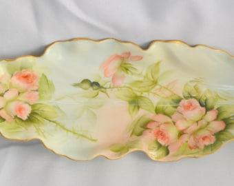 "Limoges Porcelain Celery Tray Relish Dish Pink Decor 10"" Long"