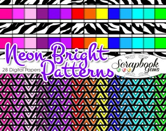 "NEON BRIGHT Digital Pattern Papers, 28 Pieces! 12"" x 12"" High Quality digiscrap patterns Commercial Use Scrapbook checker racing chevron"