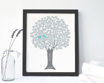FRAMED CANVAS: Personalized Silver 25th Anniversary Gift Monogram Art Print