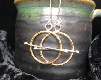 Hammered brass circles with sterling silver cross-bar