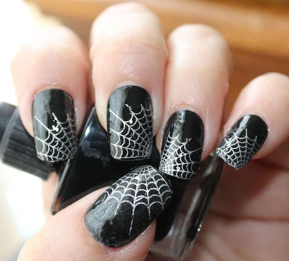 - Silver SPIDER WEB Nail Art Tips WTS 29 Web Tip Nail Art