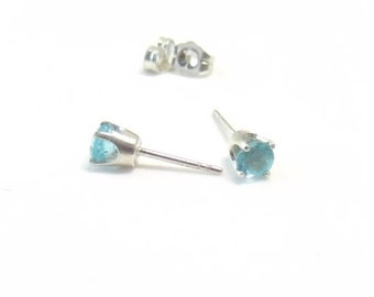 Apatite Stud Earrings Sterling Silver 4mm