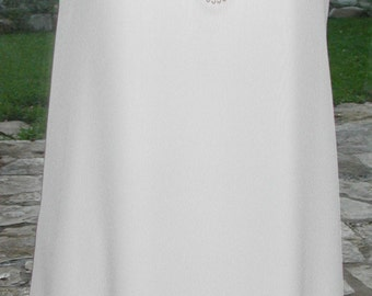 No. 500 Reversible Bridal, White CREPE SILK DRESS SImple, Casual, Wedding, Fine Finishing,  size 8-10