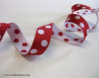 Retro style Spotty Red & White Polka Dot Reversible Woven Ribbon 25mm 1 inch price per metre