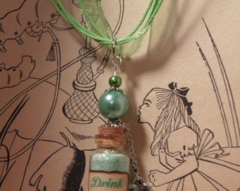 Drink Me Necklace, Alice in Wonderland Necklace with Key Charm, Green GLOW in the Dark, Through the Looking Glass