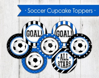 Blue Soccer Cupcake Toppers - Instant Download
