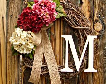 Summer Hydrangea Wreath with Monogram - Monogrammed Wreath - Initial Wreath - Door Wreath - Wreaths - Pink Red White Wreath - Wreaths