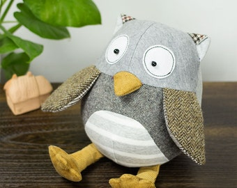 Scrappy Hoot Owl - Stuffed animal Bird sewing pattern & tutorial | softie | stuffie | fabric toy | DIY project