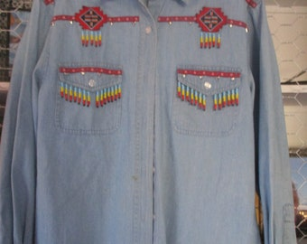 Vintage Lew Magram Denim Cowboy Western Beaded Shirt Med