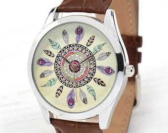 Dream Catcher Watch | Boho Dreamcatcher | Birthday Gift for Mom | Hippie Jewelry | Leather Watch | Boho Chic Women Watches | Free Shipping