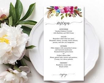 Printable Wedding Menu, Boho Floral Wedding Menu Template, Editable, Wildflowers