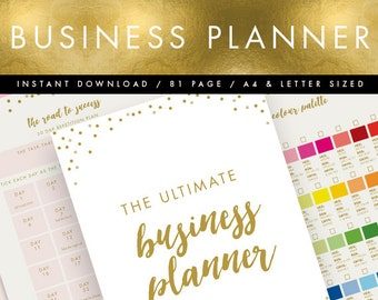 Printable Business Planner INSTANT DOWNLOAD // Pink & Gold // Business Organiser, DIY Planner, Printable To Do List // 81 pages