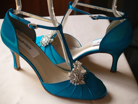 Turquoise Wedding Heels: Teal Wedding Shoes Mid Heels Vintage Style Closed Toes 40s