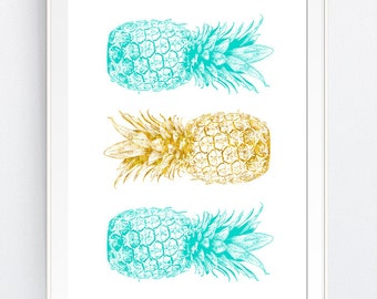Turquoise Gold Pineapples, Gold Blue Pineapple Print, California Gold Summer Printable, San Francisco Kitchen, INSTANT DOWNLOAD